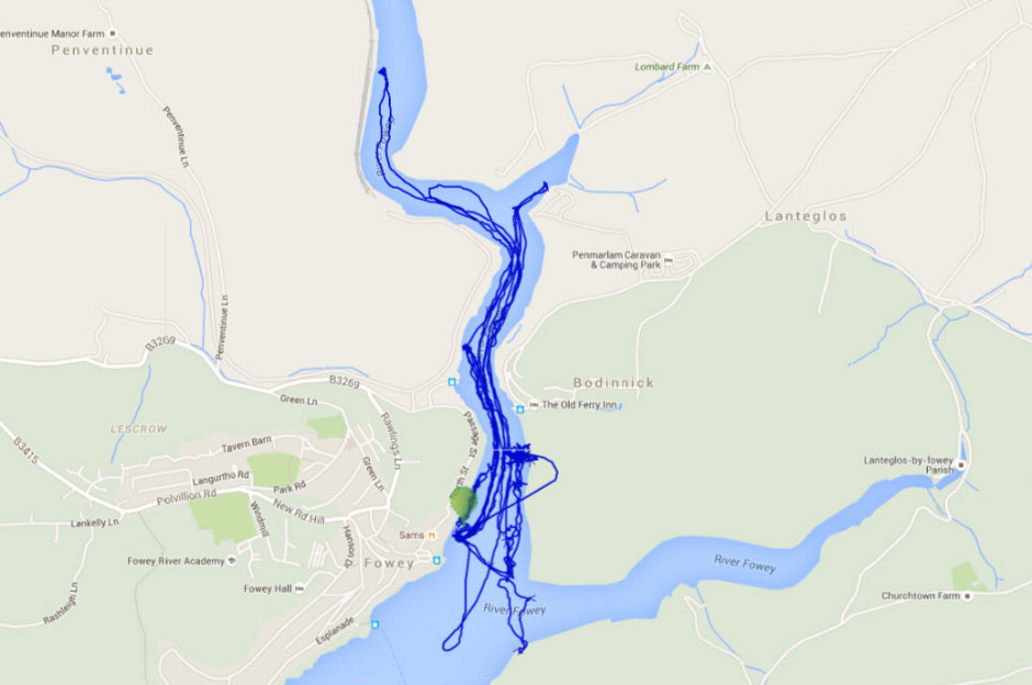 GPS Track of one of boats using the cloudcase.